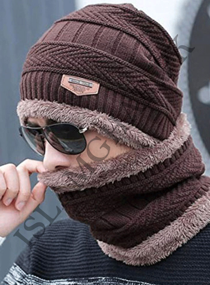 Cap And Neck Scarf Wool Warm Brown Color