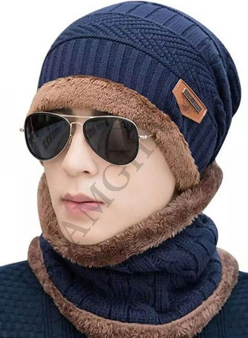 Cap And Neck Scarf Wool Warm Navy Blue Color